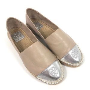 New Tory Burch Leather Colorblock Espadrille Flat